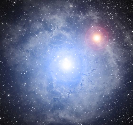 Double star with nebula